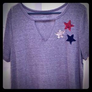 Grey tshirt with sequin stars ! Lane Bryant